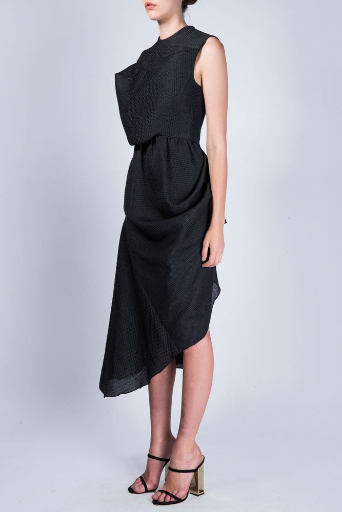 689a9144ff950 BNWT ELLERY cosmic visor dress maxi sleeveless draped long black silk  lining 6
