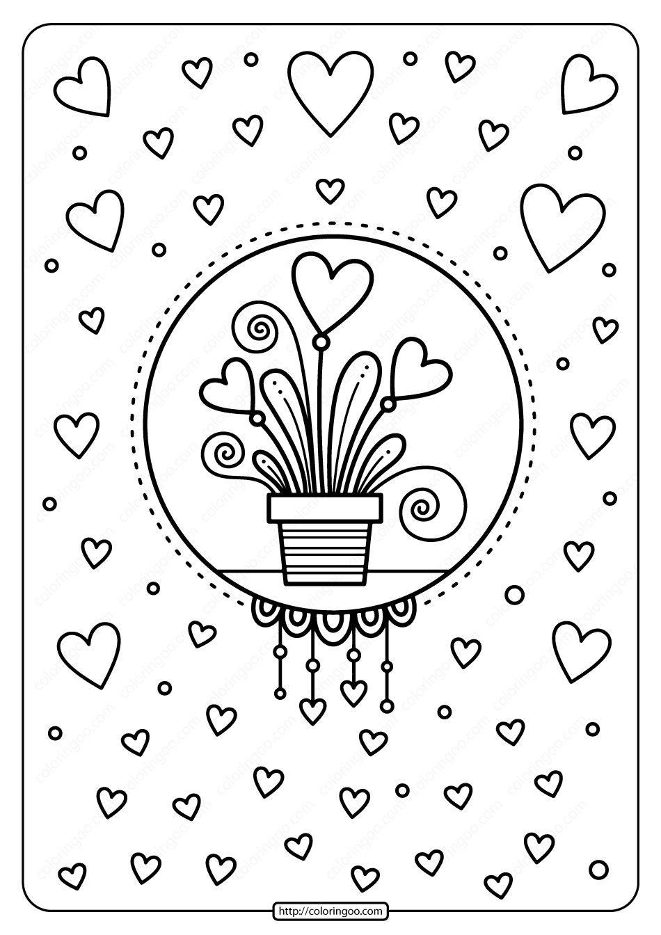 Printable Hearts In Flower Pot Pdf Coloring Page Valentine Coloring Pages Valentines Day Coloring Page Coloring Pages