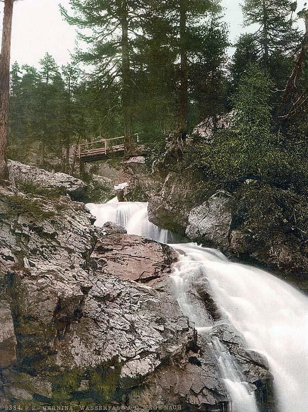 Upper Engadine Bernina Falls Near Morteratsch Grisons Switzerland