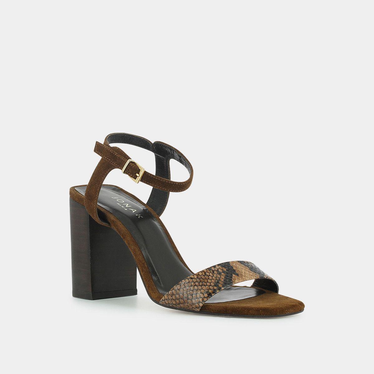 Sandales à talon haut Jonak en velours et reptile cognac