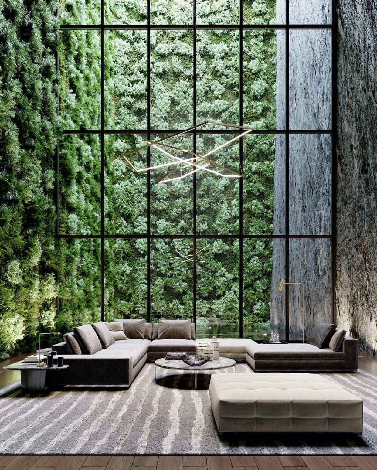 Spatious lounge area greenery all grey furniture minimal interior interior design modern design ideas