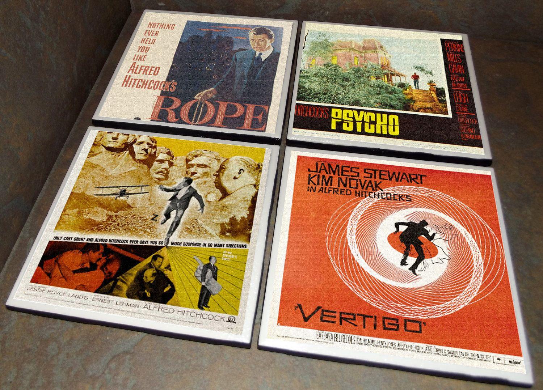 Alfred Hitchcock Ceramic Tile Classic Movie Poster Coasters Classic Movie Posters Hitchcock Alfred Hitchcock