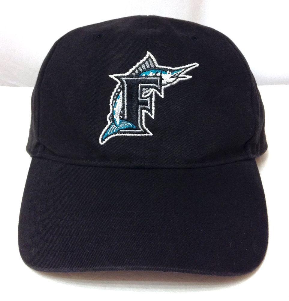 vtg FLORIDA MARLINS HAT Black Curved-Bill Letter-F Logo Men Women OSFM  Velcro  FanFavorite  FloridaMarlins 65f3eb86212