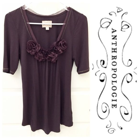 Anthropologie Deletta Floral Top Eggplant Anthropologie Deletta Floral Top Eggplant, Size S, excellent clean condition, comes from a smoke free home  Anthropologie Tops