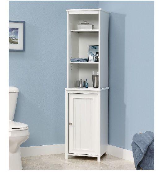 Freestanding Corner Cabinet Display White Tall Bathroom Storage Linen Towels New Tall Bathroom Storage Storage Cabinet Linen Storage Cabinet
