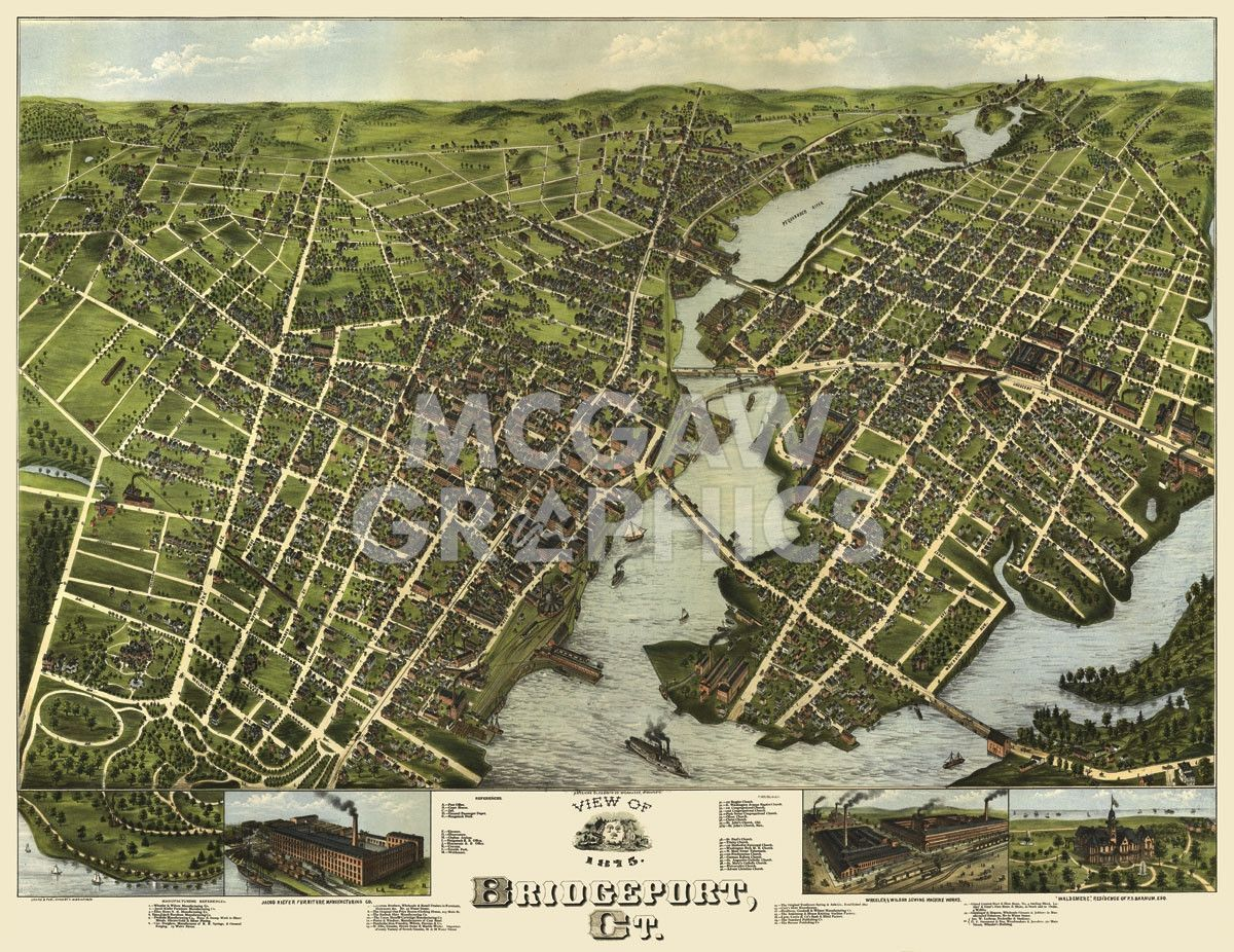 1875 Map of Bridgeport CT from the