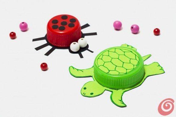 Tartaruga e coccinella riciclo creativo tappi delle for Vasche di plastica per tartarughe