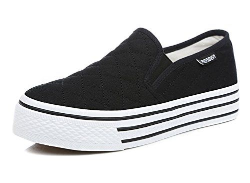 3f66d26663e0 Aisun Women s Slip On Platform Loafers Canvas Shoes Sneakers Black 6 B(M) US