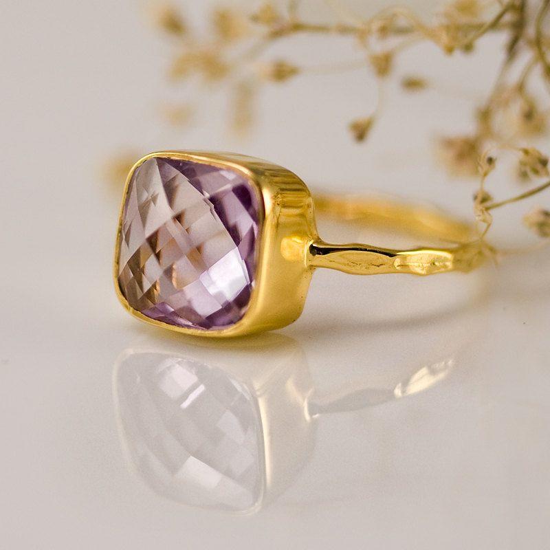 Gemstone Ring - Gold Ring - February Birthstone - Amethyst ring - Bezel Ring Size 4, 5, 6, 7, 8, 9, 10. $62.00, via Etsy.