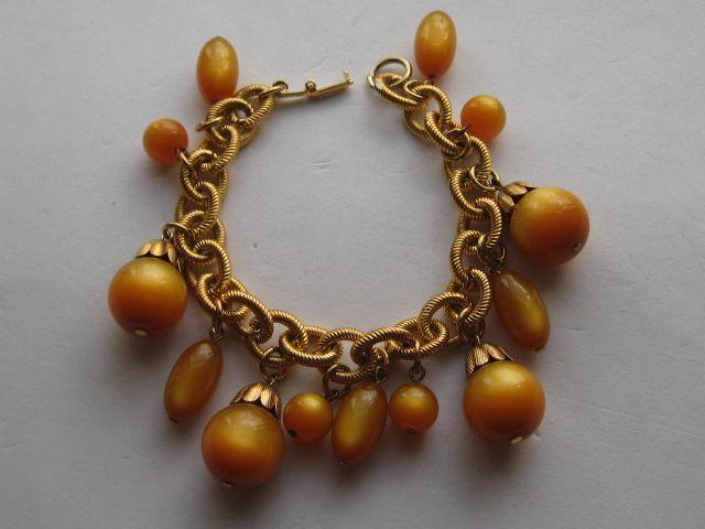 Amber colored lucite dangles