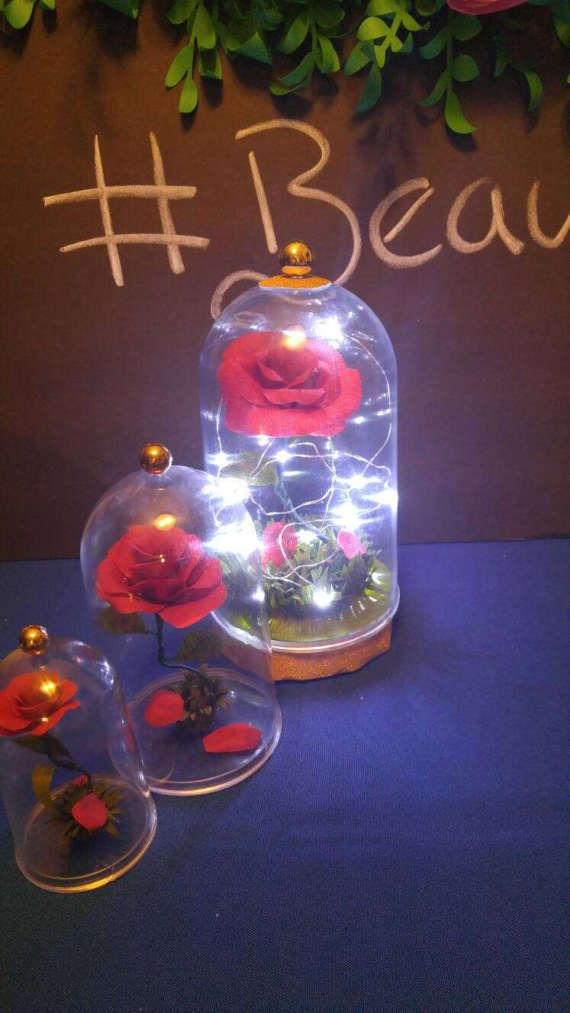 Beauty and the beast inspired centerpiece and party favor.