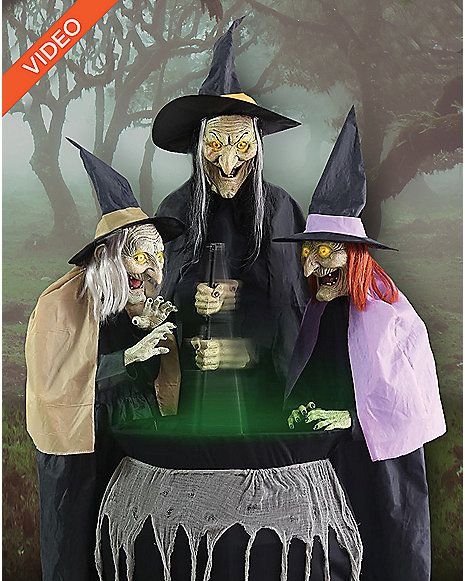 5 Ft Stitch Witch Sisters Animatronics - Decorations