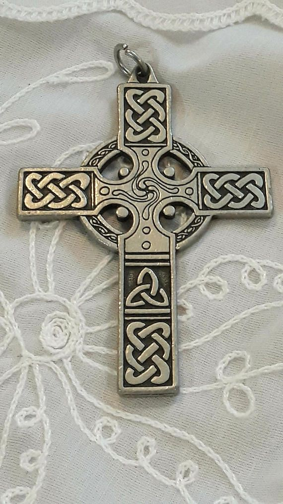 Celtic Cross Large Silver Pendant Religious Wall