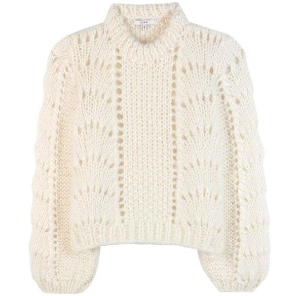 Ganni The Julliard Mohair and Wool Sweater ($455) ❤ liked on Polyvore featuring tops, sweaters, white, white mohair sweater, wool tops, ganni, wool sweaters and woolen sweater