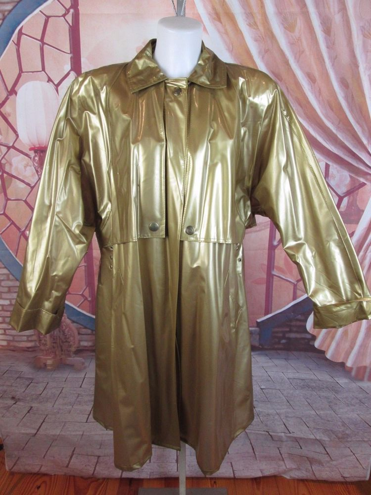Vtg 90s Kenn Sporn For Wippette Gold Vinyl Raincoat Rain Trench Coat Slicker L Gallery Trenchcoat Cas Jackets For Women Raincoats For Women Rain Trench Coat