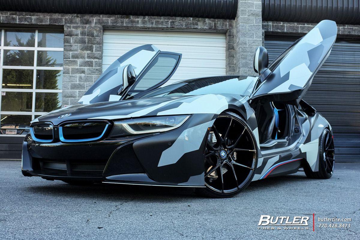 Lowered Camo Wrap BMW I8 With 22in Savini BM14 Wheels
