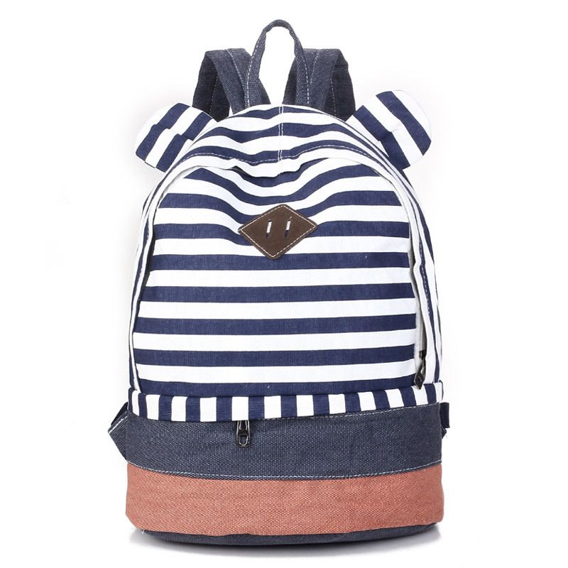 Cute Striped canvas printing backpack school bag for
