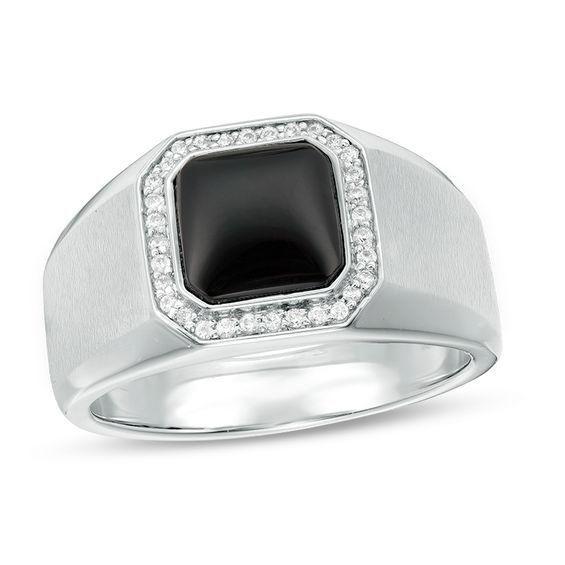 Zales Mens 1/6 CT. T.w. Composite Diamond Signet Ring in Sterling Silver rTgkssGNb