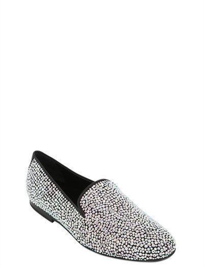 KARDINALE, Crystal embellished suede loafers, White, Luisaviaroma - All  over heat-sealed crystals.