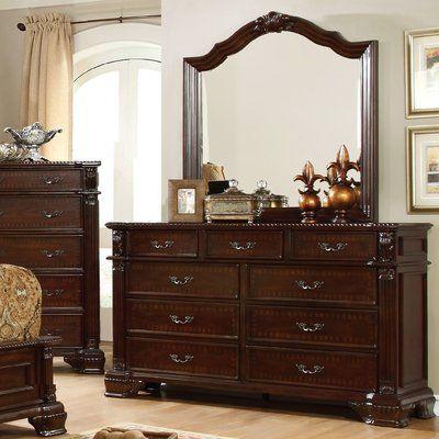 Astoria Grand Georgeson 9 Drawer Dresser With Mirror Furniture Of America Wooden Dresser Dresser With Mirror