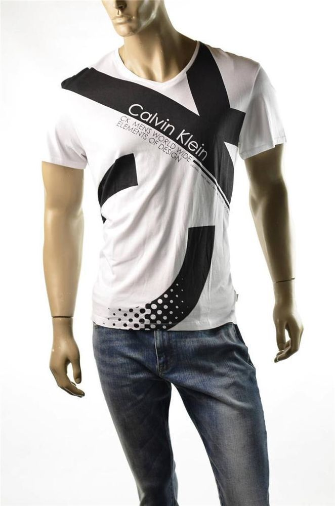 5f83661c7b87 Calvin Klein T-shirt Mens Elements of Design Graphic Tee T Shirts Sz L  Large NWT