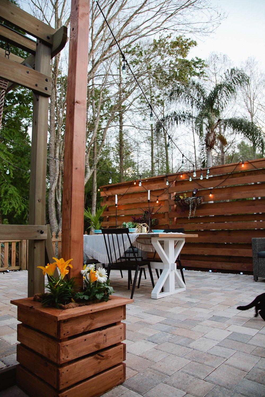 DIY Outdoor Planter Box for Hanging String Lighting | Fresh Mommy Blog