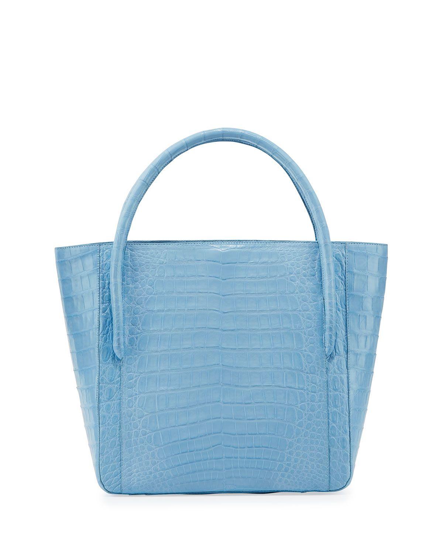 8dc662523974 Nancy Gonzalez Crocodile Square Shopper Tote Bag, Light Blue, Blue I56