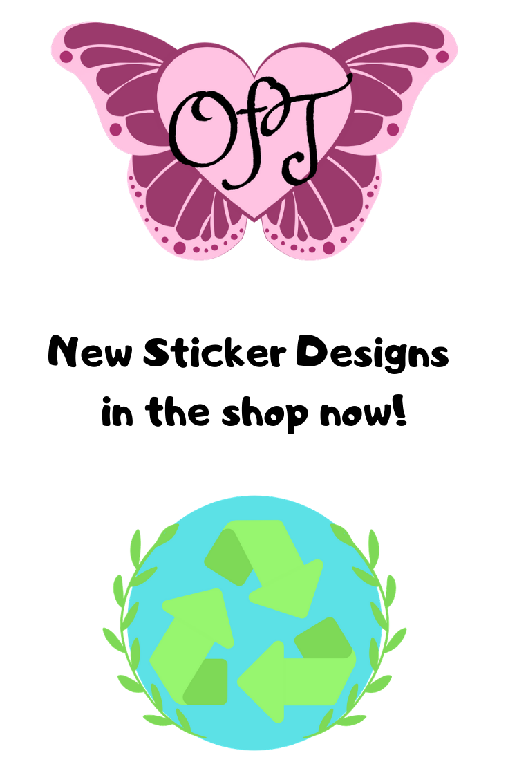 New earth day sticker designs in the shop now including our new butterfly oft heart sticker