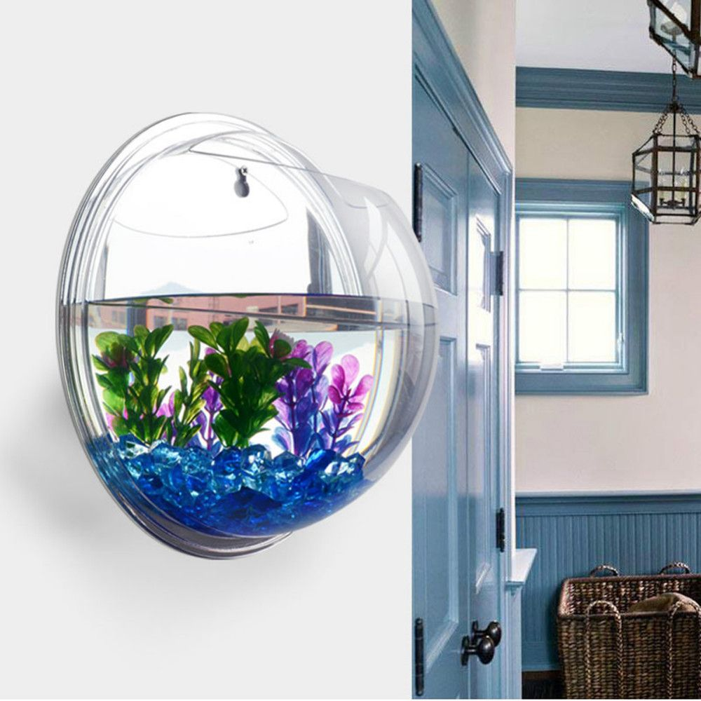Fish decorations for home house style pinterest decorations homecube wall hanging bubble fish tank flowerpot wall mount acrylic fish bowl decoration with stonesplantmirror amipublicfo Gallery