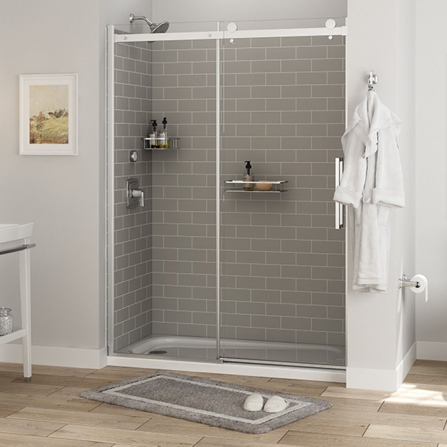 American Standard Passage 32 In X 60 In X 72 In 4 Piece Glue Up Alcove Shower Wall In Gray Subway Tile P2969swt 376 The Home Depot In 2020 Grey Subway Tiles Shower Wall Subway Tile