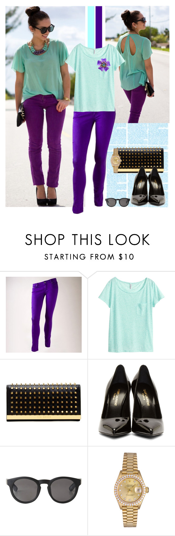"""Purple and Mint"" by majezy ❤ liked on Polyvore featuring Vigoss, H&M, Ted Baker, Yves Saint Laurent, Monki, Rolex, women's clothing, women's fashion, women and female"