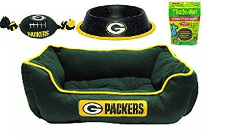 b3a9a40cb2c Green Bay Packers Pet Bed Bundle with Packer Football Toy, 24 oz Black  Gloss Packer Food/water Bowl, and Train-me! Grain Free Mini Treats *  Unbelievable dog ...