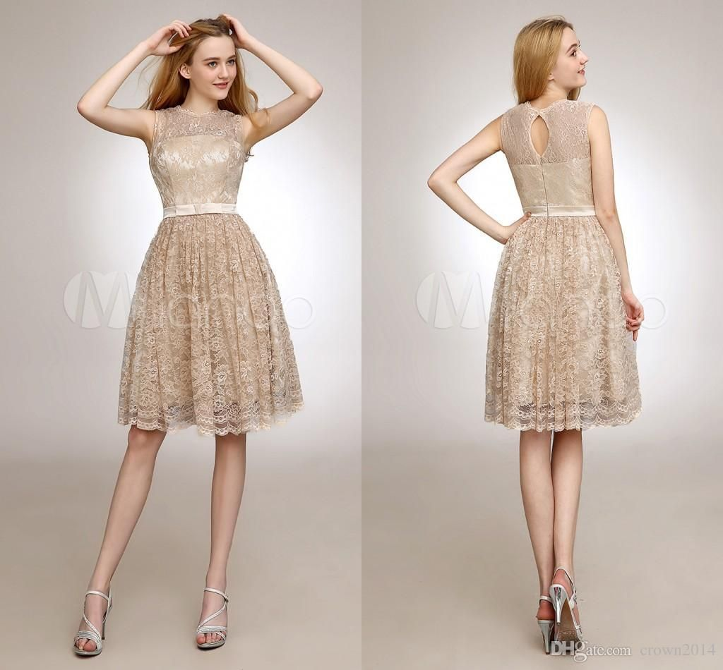 2014 Sheer Cheap Lace Bridesmaid Dresses With Sash Knee Length Illusion Jewel Short Wedding Party Dresses Champagne Prom Dresses Bridesmaid Cheap Bridesmaid Dresses From Crown2014, $66.76| Dhgate.Com