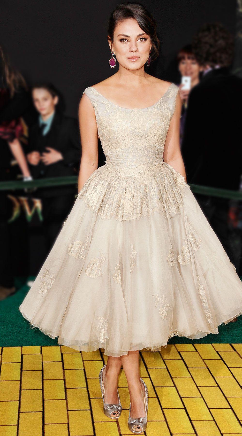 Mila kunis wedding dress  Gorgeous dress Champagne sparkles Full swirly skirt  Dresses