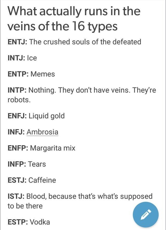 What Runs In The Vein If The 16personality Types Psi Infp
