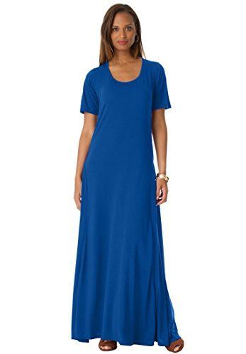 ed0304b6944 Jessica London Women s Plus Size Tee Shirt Maxi Dress Dark Sapphire