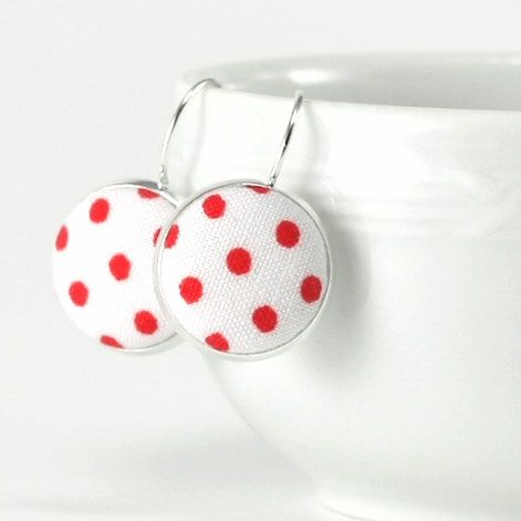 Red and White Polka Dots  Silver Toned by PatchworkMillJewelry