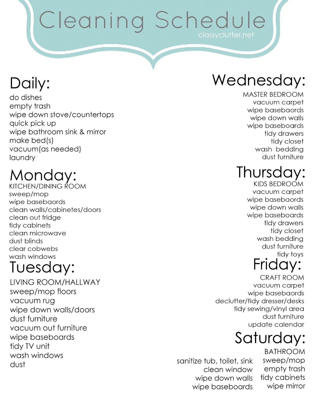 Apartment Cleaning Schedule Chore Charts