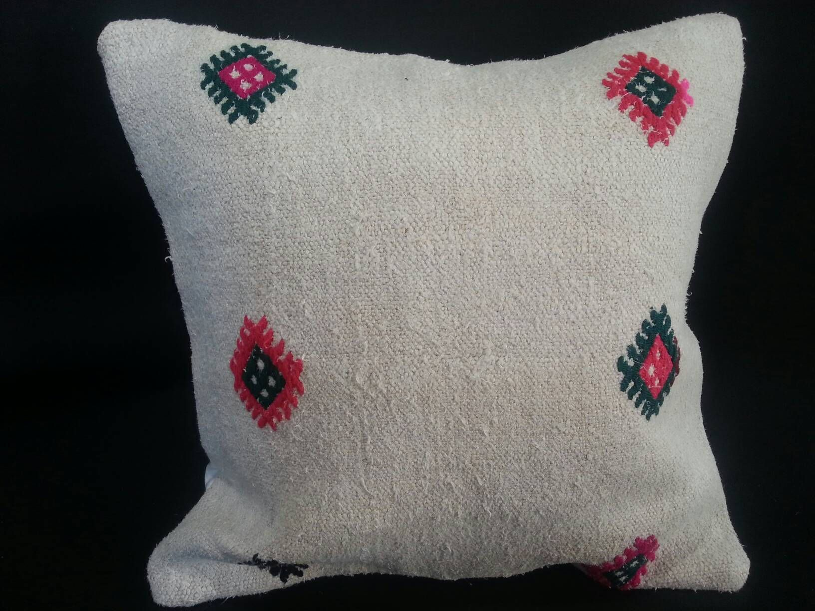 Handmade decorative turkish white color hemp pillow x by