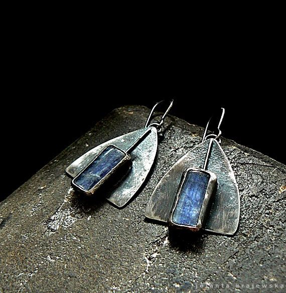 sterling silver earrings kyanite by jolanta krajewska ...