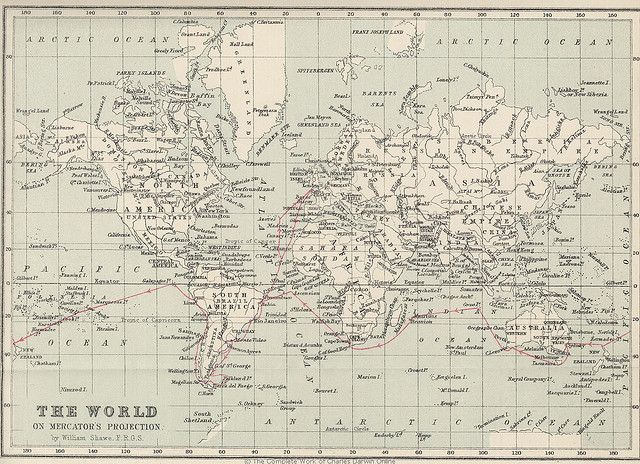 Journey Of The Beagle 1831 1836 Beagle Map Historical Maps