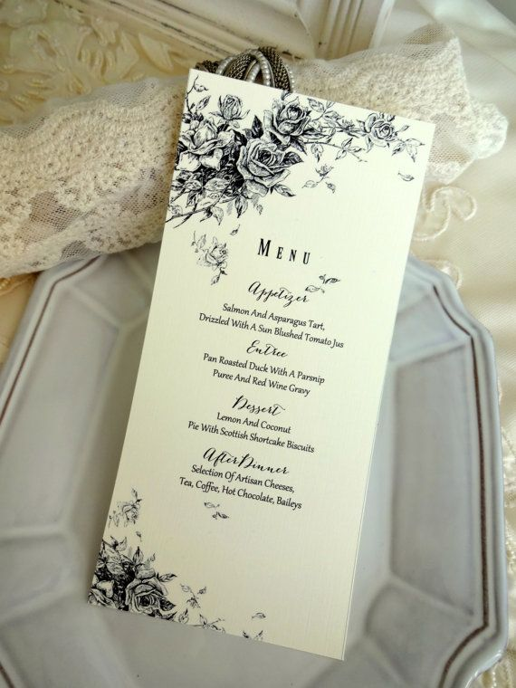 MENU CARD  Ideal for Weddings Rehersal Dinners by SweetPeaSunday