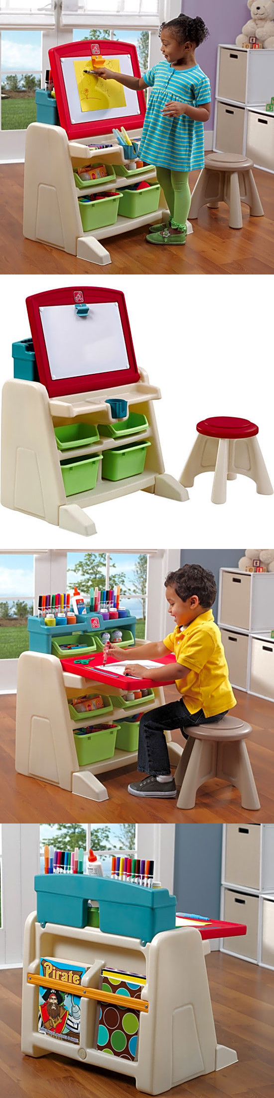 Amazing Other Kids Drawing And Painting 160718: New Step2 Flip Doodle Easel Desk  With Stool Magnetic Nice Design