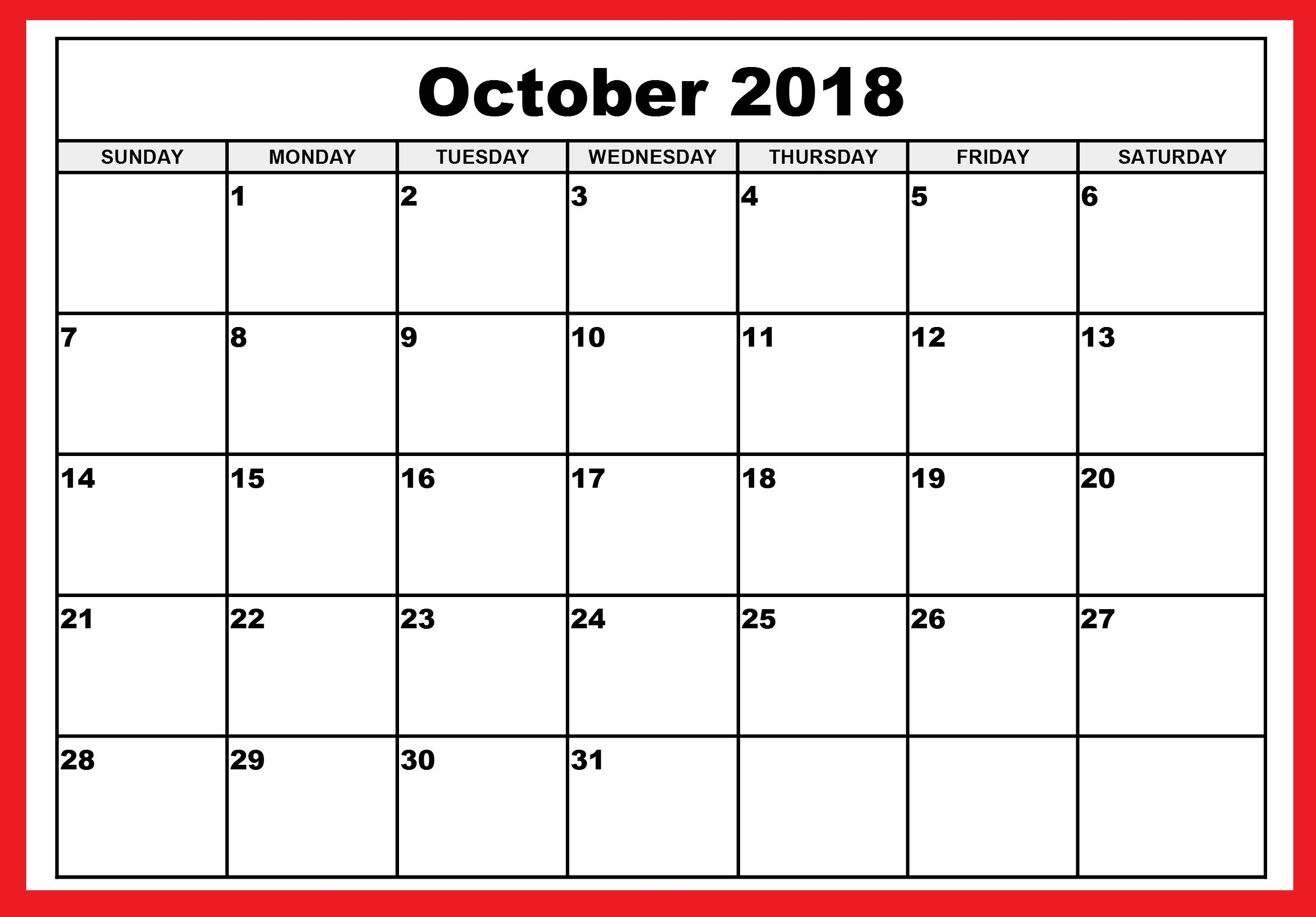 2018 calendar of october printable