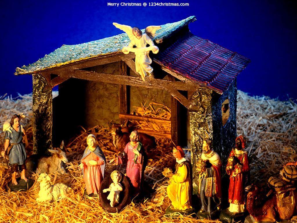 Vintage Christmas Nativity Set Figures Wood Creche Manger Stable