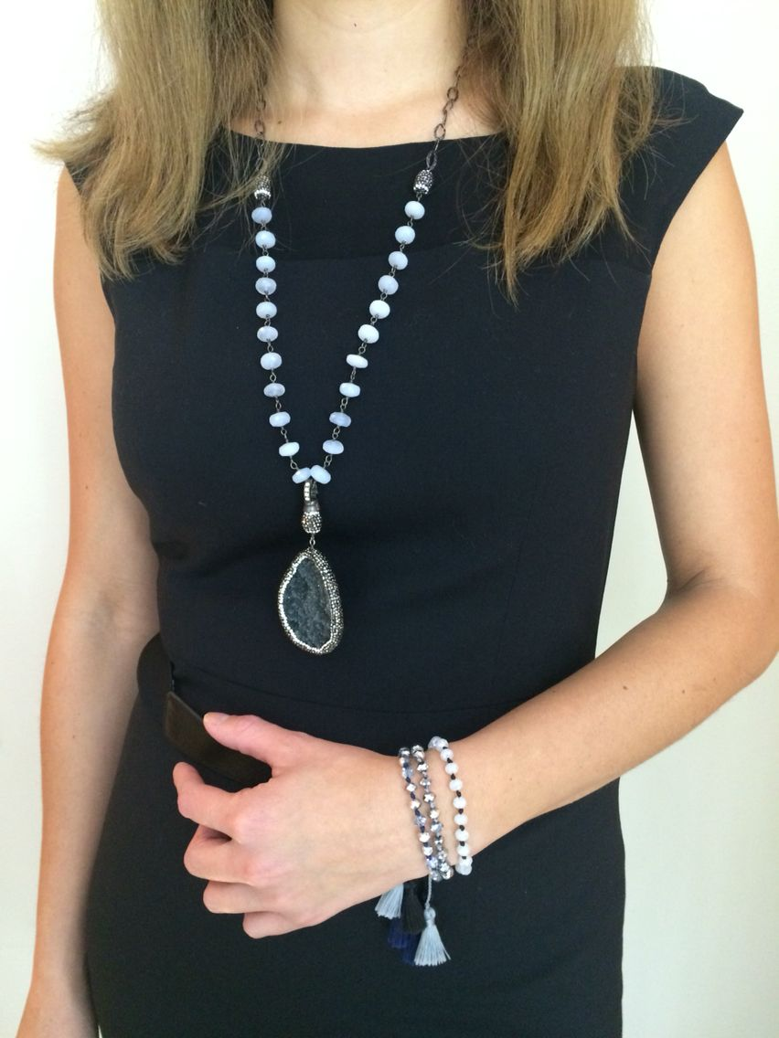 The Gorgeous Druzy Necklace with Moonstone Chain