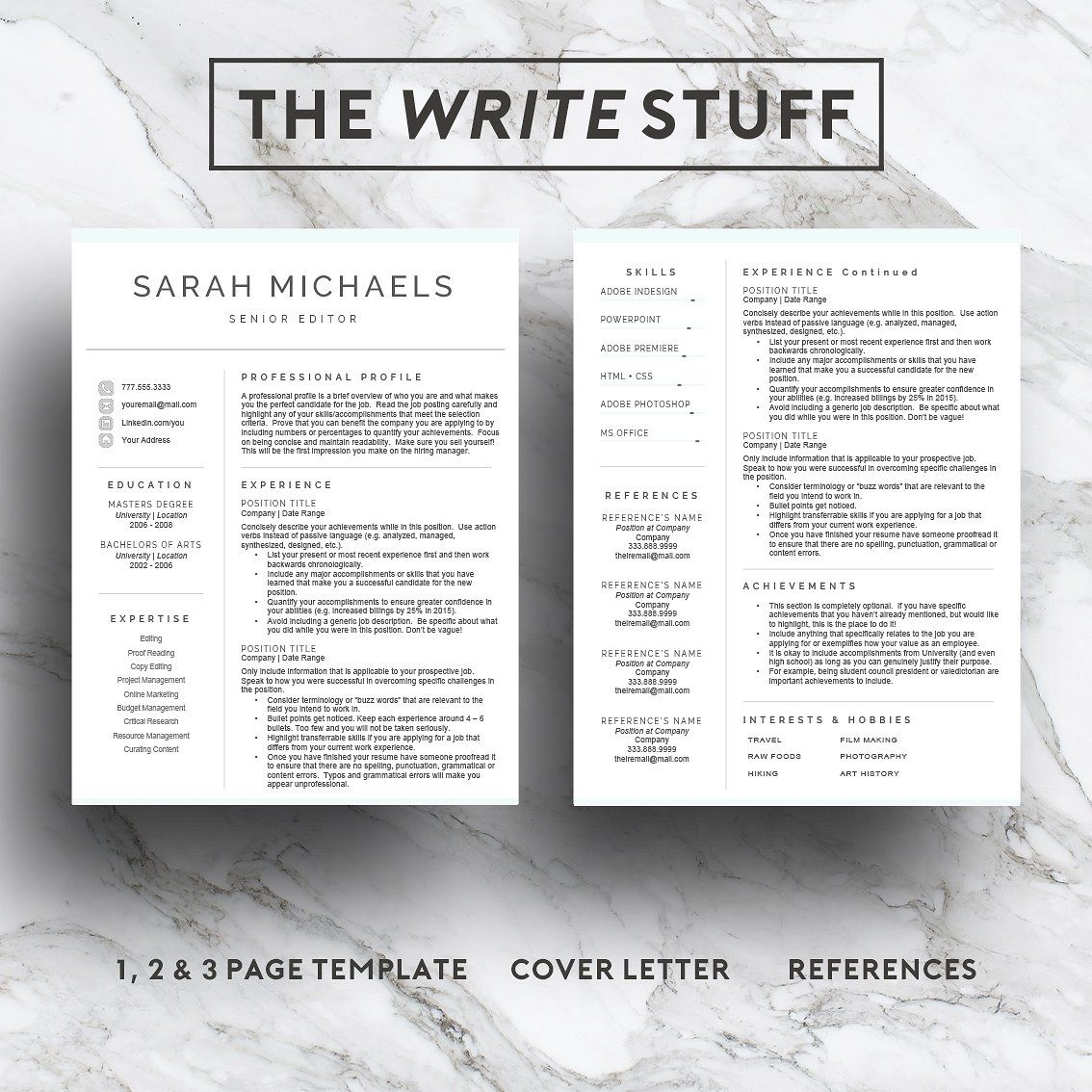 Resume template cv 1 2 3 page by