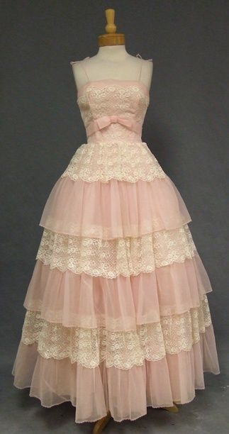 Ball Gown | Pink and white with ruffles. Looks straight out of a painting of Cinderella