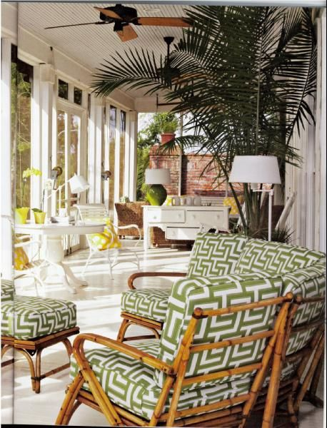 Marvelous Porches   Porch Patio Outdoor Bamboo Bright Green Yellow White Windows Fan  Pedestal Table Outdoor Furniture