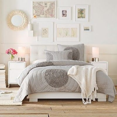 Love this bedroom ...white is great with a hint of grey .....really brightens up the room...